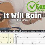 Bruno Mars – It Will Rain fingerstyle tabs
